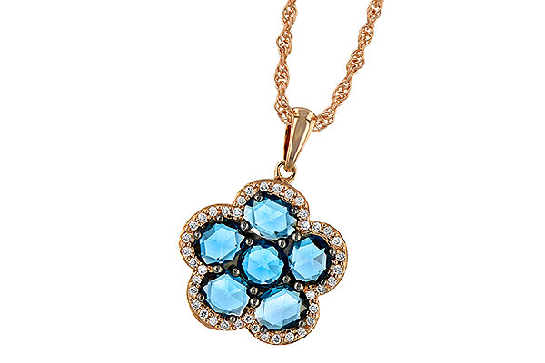 D214-85605: NECK 1.80 ROSE CUT BLUE TOPAZ 1.95 TGW